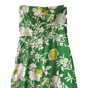 Green Floral Print Strapless J Crew Dress